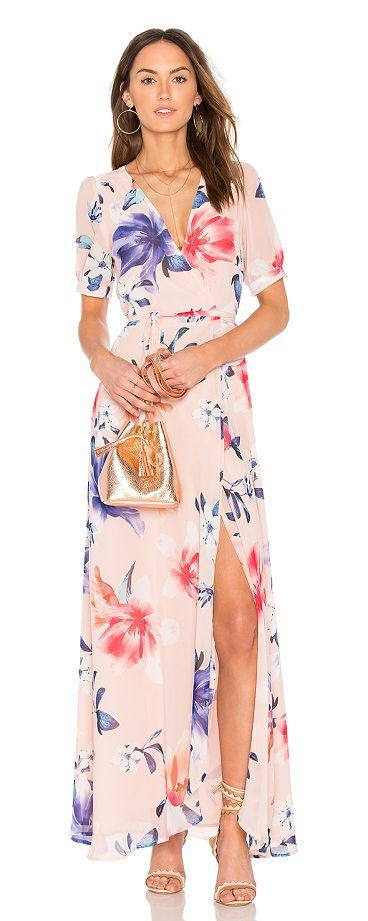 J'Adore Maxi Dress by Yumi Kim. Shell & Lining: 100% poly. Dry clean only. Fully lined. Wrap front with snap button and tie closures. Buttoned cuff sleeves. YUMI-WD205. DR 16314. Kim Phan knew she had a niche for fashion when she started making clothes for her Barbie d... #yumikim #dresses