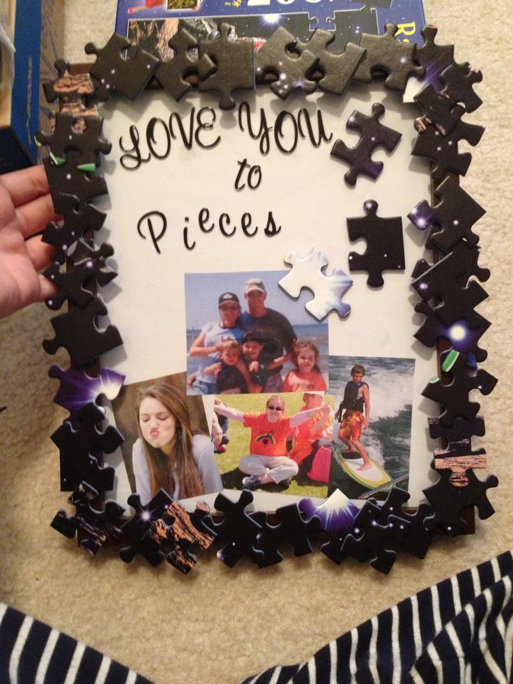 cute present from kids ill add a puzzle of family picture pieces framepuzzle piecesboyfriend