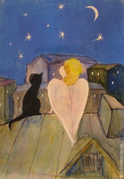 Картина Ангел и кот на крыше. картина Ангел и кот на крыше..  Белый ангел и черный кот..  Рисунок, смешанная техника.: