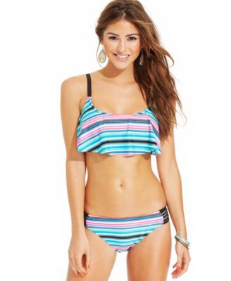 Raisins Striped Flounce D-Cup Bikini Top