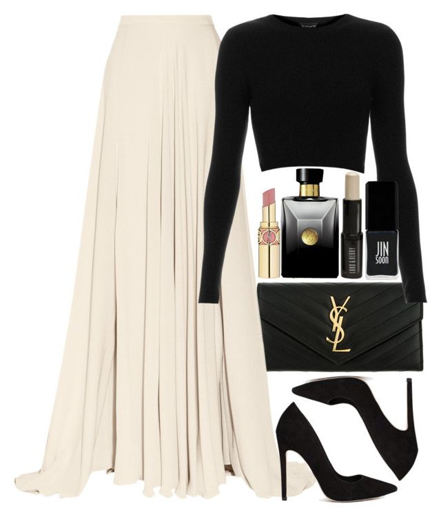"""""""Untitled #1143"""" by alexadmendoza ❤ liked on Polyvore featuring Yves Saint Laurent, Elie Saab, ASOS, Topshop, Versace, Lord & Berry and JINsoon"""