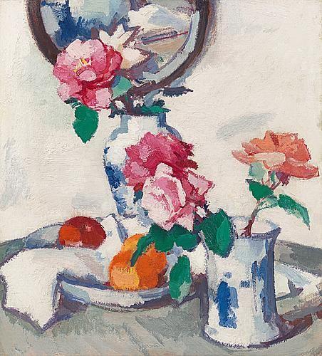 Samuel John Peploe - Still life with roses & fruit