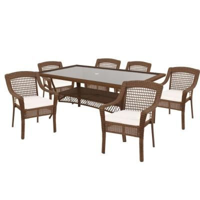 Hampton Bay Spring Haven Brown Patio Dining Set With Cushion Insert ( Slipcovers Sold Separately)