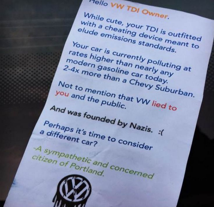 VW TDI Owner in Portland Finds This Note in His Windshield: Emissions and Nazis - autoevolution