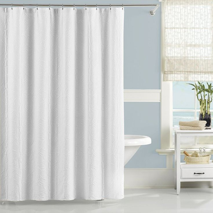 Nepal Bamboo White Shower Curtain By Lamont
