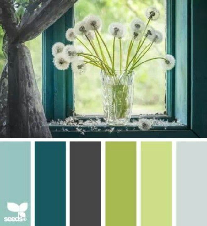 Love this color combo - our kitchen is turquoise & our dining room is gray. Both have lime green (& red & orange) accents