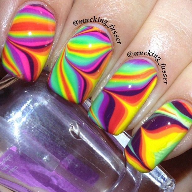 88 best water marble nail art images on pinterest water marble rainbow water marble birthday nails prinsesfo Image collections