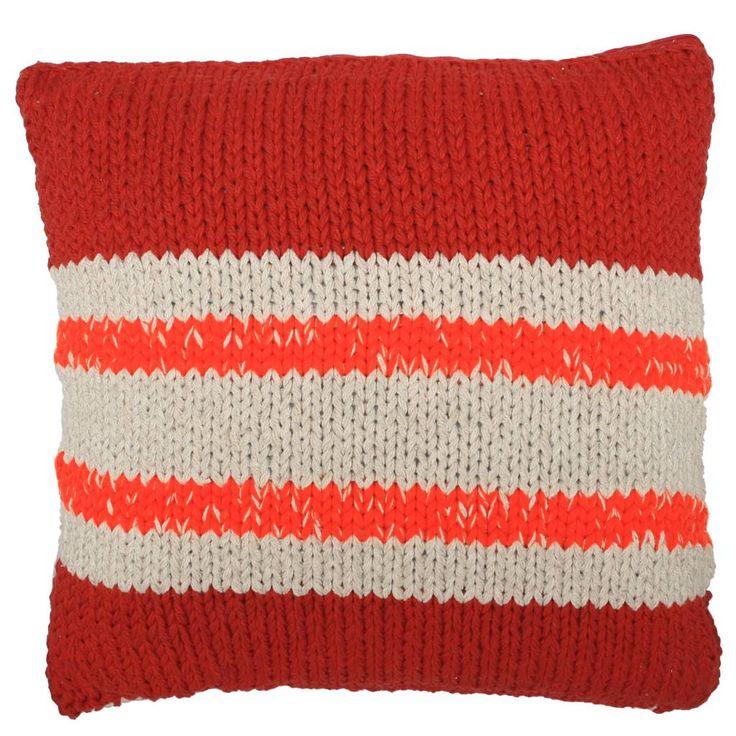 HK-living Kissen aus Baumwolle, gestrickt, rot/orange Akzente, 50x50cm