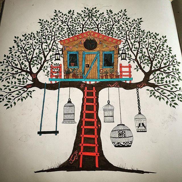 #art #artwork #ağaç #bird #book #brush #boyama #brightcolors #brushpainting #color #coloring #cage #drawing #esrarengizbahçe #johannabasford #kafes #kitap #kuşlar #leaf #merdiven #painting #renkler #swing #stairs #salıncak #secretgarden #tree #therapy #treehouse #yaprak