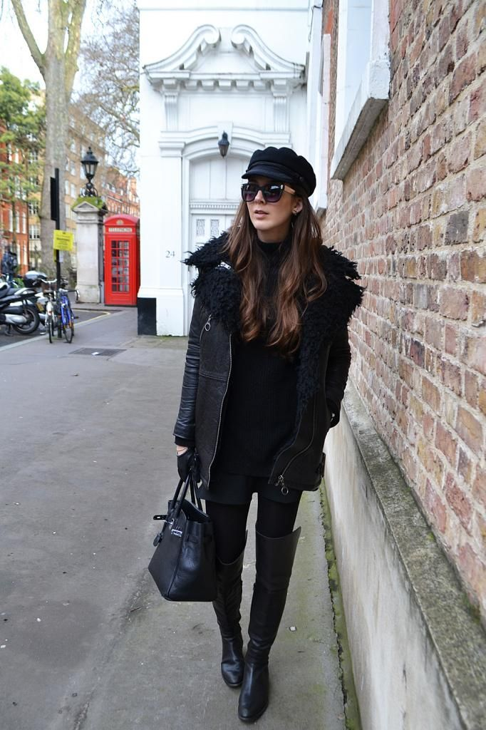 Serendipity2307, streetstyle,london, over the knee boots, all black, hermes, birkin,captain cap,mayfair,chic,leather,