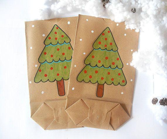 Sacchetto regalo natale disegnato a mano albero di natale carta marrone idea regalo dolci sacchetti di carta grandi biscotti inverno