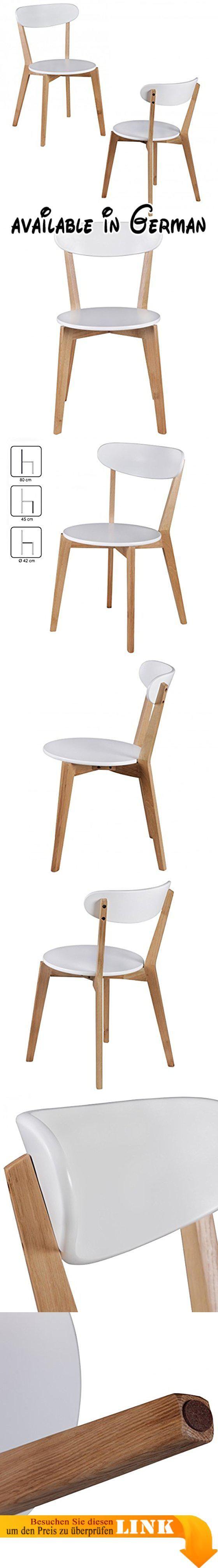 B078KKMLJ3 : 2er Set Esszimmerstühle MDF Weiß Design Holz-Stühle retro Küchenstühle skandinavisch Essstühle Sitzmöbel. 2er Set Holzstühle im Retro Look - Skandinavisches Design als Optisches Highlight. Material: Gestell aus Rubberwood // Sitzfläche und Rücken aus MDF weiß lackiert. Abmessungen ca.: Gesamthöhe: 80 cm // Sitzhöhe: 45 cm // Durchmesser Sitzfläche: 42 cm // Weitere Abmessungen siehe Artikelbeschreibung.. Pflegehinweis: Pflegeleicht - Oberflächen