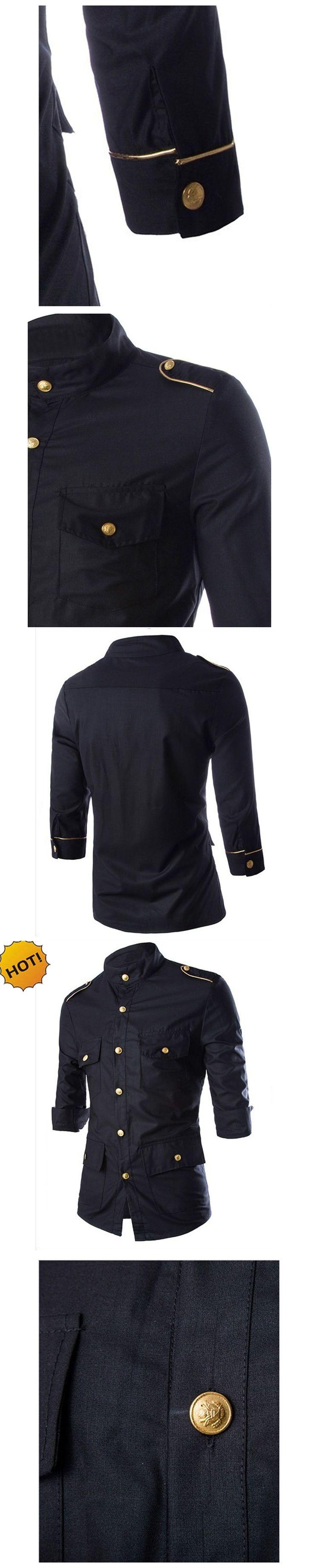 New2017 Fashion Autumn Tuxedo Shirts Gold Button Solid Epaulet three Quarter Sleeve Black Slim Fit Multi-Pocket Dress Shirt