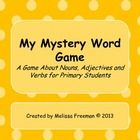In this game, students try to guess the mystery word on the card.  There are a few clues given about the mystery word (whether it is a noun, an a...