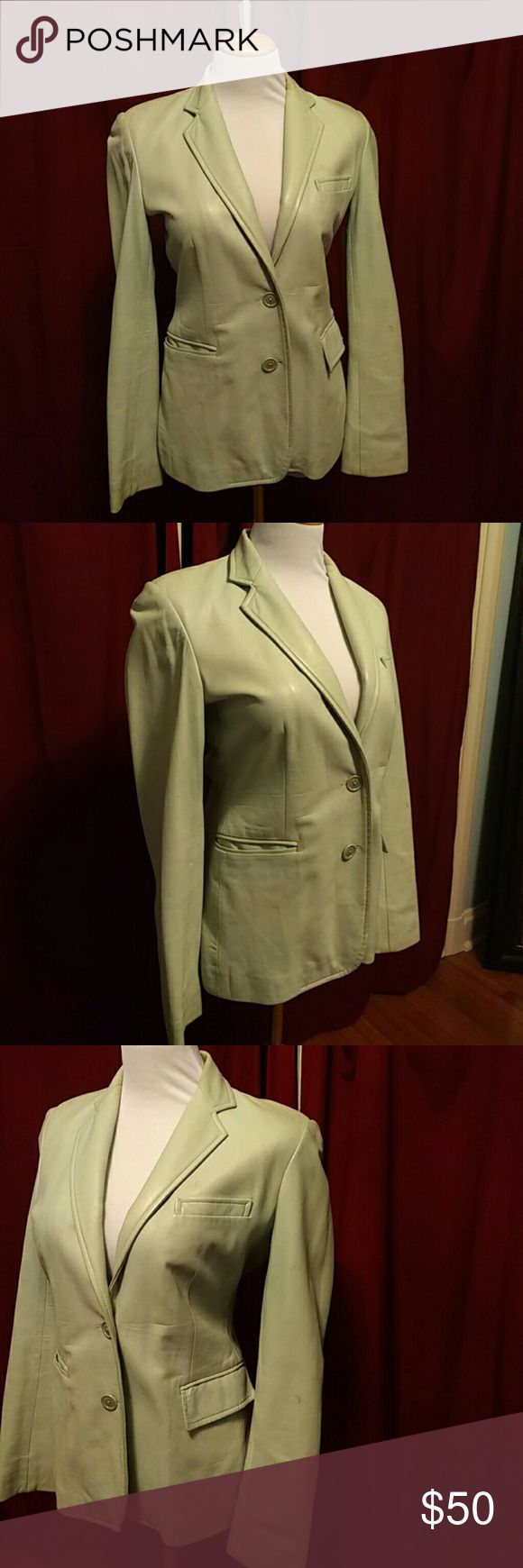 Leather Jacket Absolutely beautiful soft light blue leather jacket.   Such a staple piece.  I ?? this jacket.  It has seen a few parties and needs a good dry cleaning (price reflects dry cleaning).  I may trade but am really not willing to go lower on price. Ralph Lauren Jackets & Coats Blazers