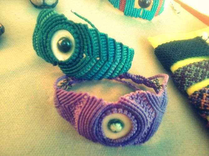 Handwoven macrame bracelets with handmade ceramic beads.