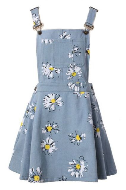 #RomwePartyDress ROMWE | Pocketed Floral Print Light Blue Suspender Dress, The Latest Street Fashion
