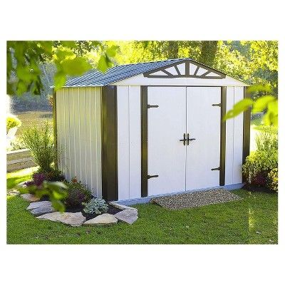 Designer Series Steel Storage Shed 10u0027 X 8   Arrow Storage Products,  Eggshell