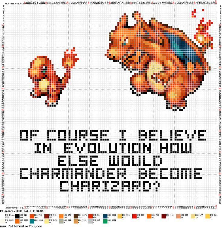 Cross-Stitch Pattern - Pokemon Evolution