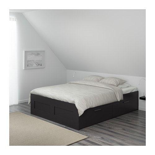 Brimnes Cadre Lit Avec Rangement Noir 140 X 200 Cm In 2018 Ikea