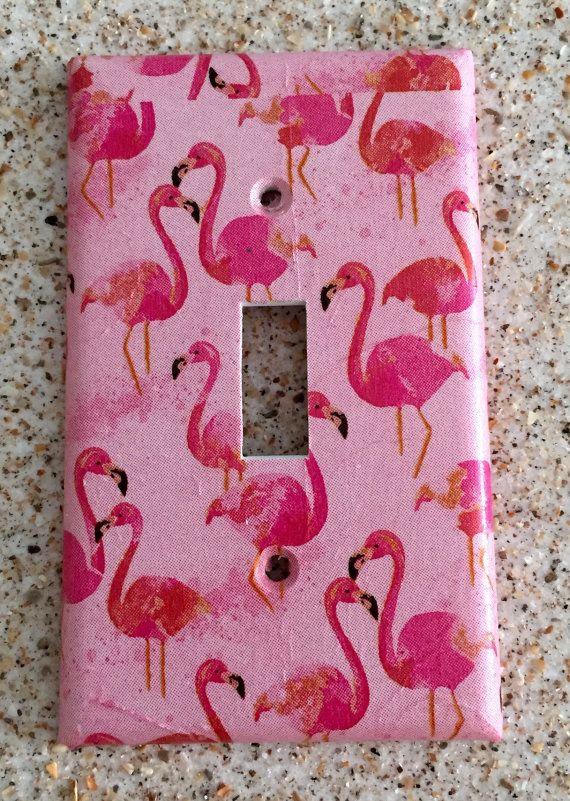 Pretty Pink Flamingos light switch cover by tinasthriftytreasure