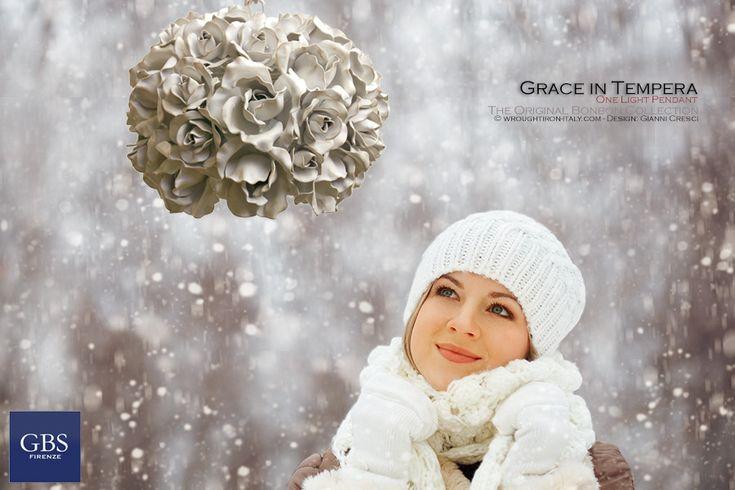 Lampada a sospensione Grace di rose