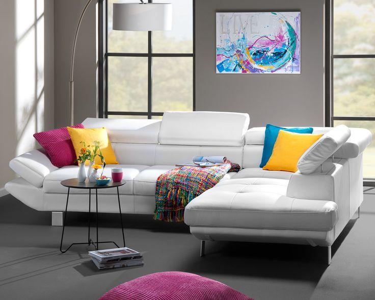 Hoekbank carrier een witte leatherlook bank voor een modern en strak interieur ook beschikbaar - Interieur inrichting moderne woonkamer ...