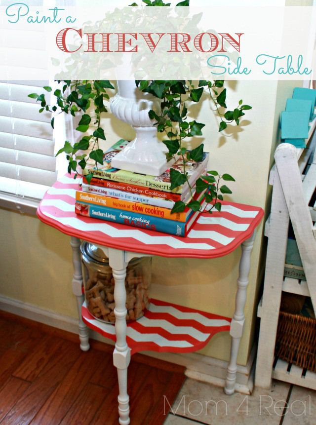 Paint a Chevron Side Table with Mom 4 RealSide Tables, Painting Side, Chevron Side, Painting Furniture, Tires Tables, Tables Painting Green, Stylish Tables, Chevron Furniture Diy, Chevron Painting