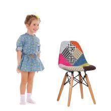BABY WOODEN Stoel -Patchwork Editie-