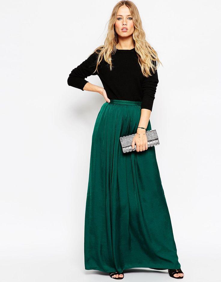 Image 1 ofNeedle & Thread Pandora Satin Maxi Skirt