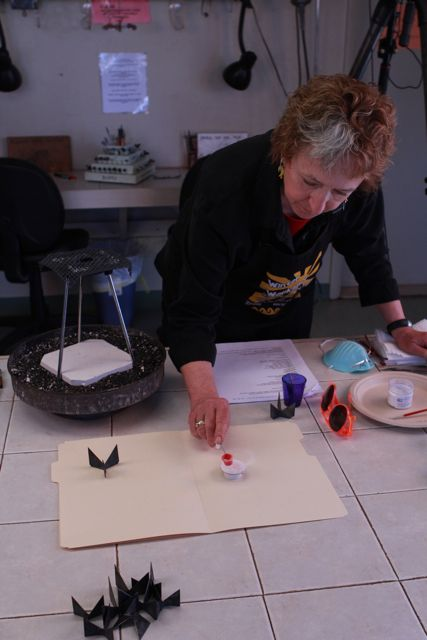 These are behind the scenes photos from the video shoot for Basic Jewelry Enameling: Torch Fired Tutorial with Pauline Warg.