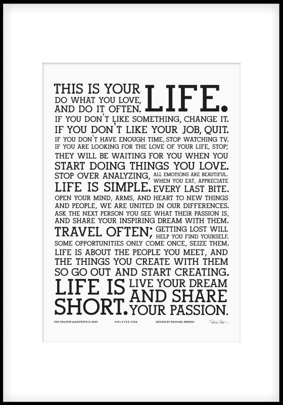 Holstee Manifesto poster. More typography posters can be found at www.desenio.se.