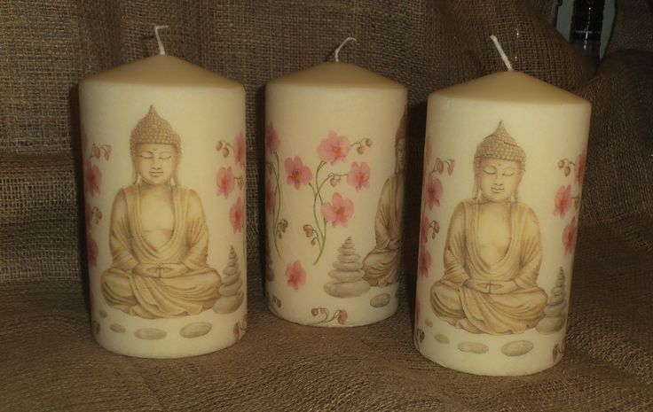 Large candles decorated with a Buddha design; one of my most popular candles. See more of my napkin decoupage work on www.facebook.com/... and in my Folksy shop folksy.com/shops/YourLovelyHome