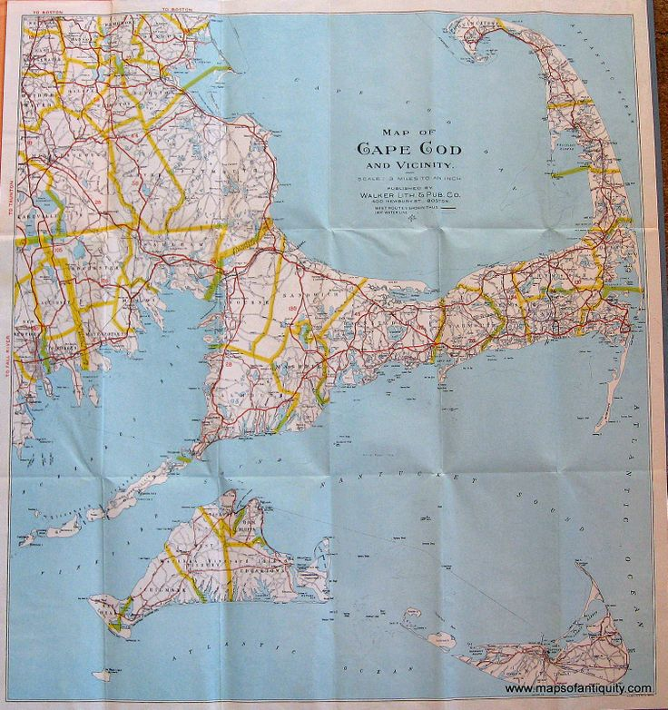 Antique Map of Cape Cod – Original, Vintage, Rare Historical Antique Maps, Charts, Prints, Reproductions of Maps and Charts of Antiquity from MapsofAntiquity.com