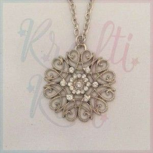 Diamanté and filigree flower necklace
