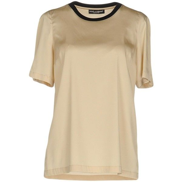 Dolce & Gabbana Blouse (112.310 CLP) ❤ liked on Polyvore featuring tops, blouses, beige, short sleeve tops, dolce gabbana top, dolce gabbana blouse, brown top and short-sleeve blouse