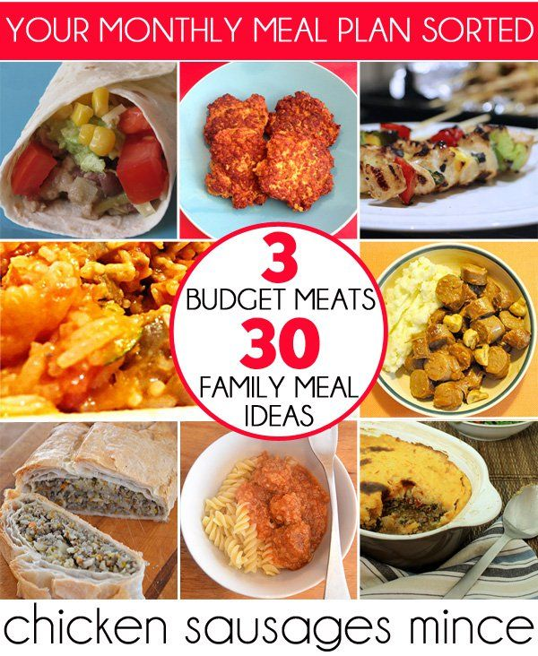 3 Budget Meats, 30 Family Meal Ideas: Your monthly meal plan sorted! #recipe #organize #mealplan