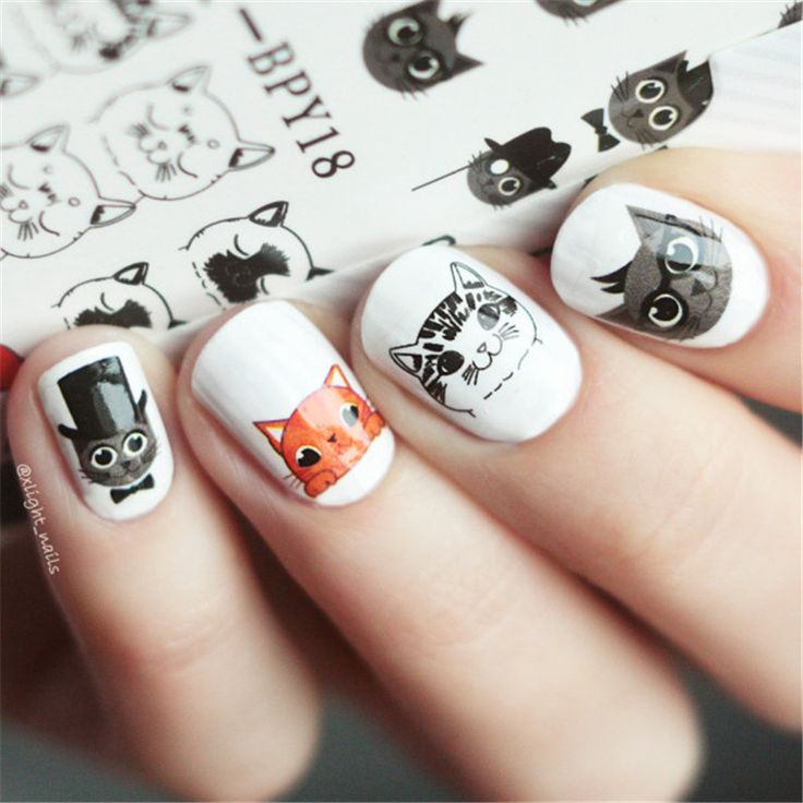 Cheap manicure decoration, Buy Quality cat nail art directly from China stickers manicure Suppliers: BORN PRETTY Cute Cat Nail Art Water Decals Transfer Sticker Manicure Decoration 2 Patterns/Sheet BPY18