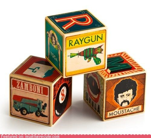 retro/vintage building blocks with all the useful words like zamboni, yoga, and moustache: Baby Products, Alphabet Blocks, Geek Stuff, Abc Blocks, Kids Stuff, Geek Awesome, Baby Ideas, Geek Decor, Future Baby
