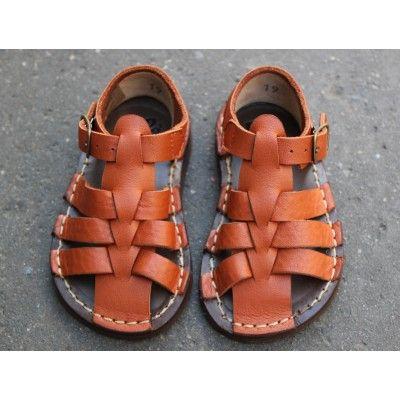 Nu-pieds à lanières cuir cognac [Pèpè]