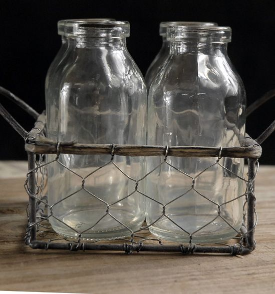 4 Small Glass Milk Bottles 4x5  Chicken Wire  Holder with Handles $8    for upstairs centerpieces--florist add flowers?
