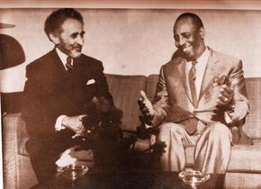 Mohamed Siad Barre & former emperor of Ethiopia Haile Selassie in 1970.