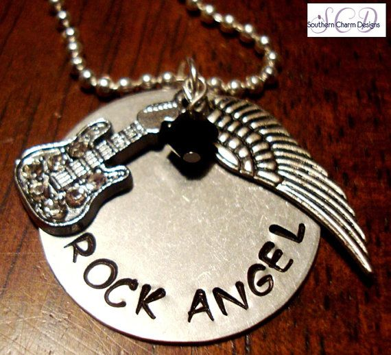 Stamped Necklace Rock N Roll Rock Angel By Southern