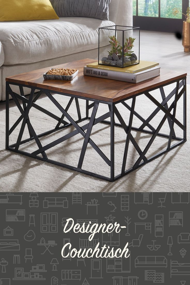 Cooler Designer-Couchtisch im Industrial-Look. #wohnzimmer #tisch #beistellstisc