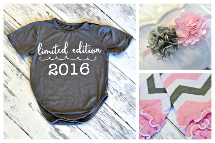 Limited Edition 2016 Onesie, just $8.99! The perfect outfit for new little ones born this year!  Add on the matching accessories to complete the look for little ladies!