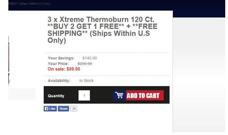 3 x Xtreme Thermoburn 120 Ct. **BUY 2 GET 1 FREE**  **FREE SHIPPING**