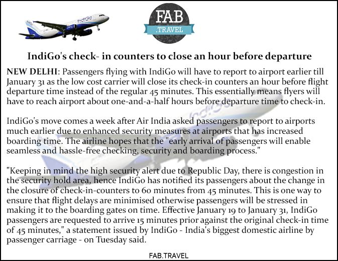 #TravelUpdates #IndiGo's check- in counters to close an hour before departure