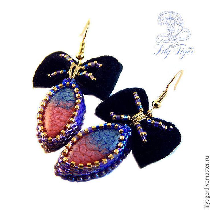 Купить Серьги вышитые с бантами Кокетка/Серьги сиреневый розовый - фиолетовый, розовый, черный, серьги