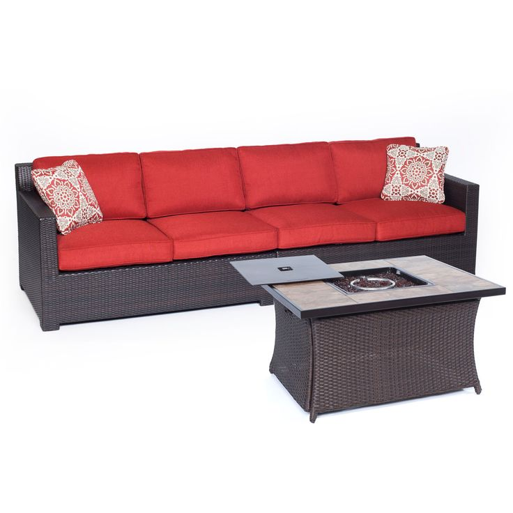 Metro3pc Fire Pit Set: Loveseat, Woven Fire Pit Coffee Table W/ Porcelain  Tile
