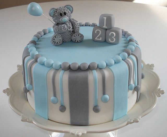 Grey Bear Baby Cake By Fays Cakes